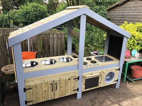 Extra large,fully pressured treated, complete mud kitchen with roof.