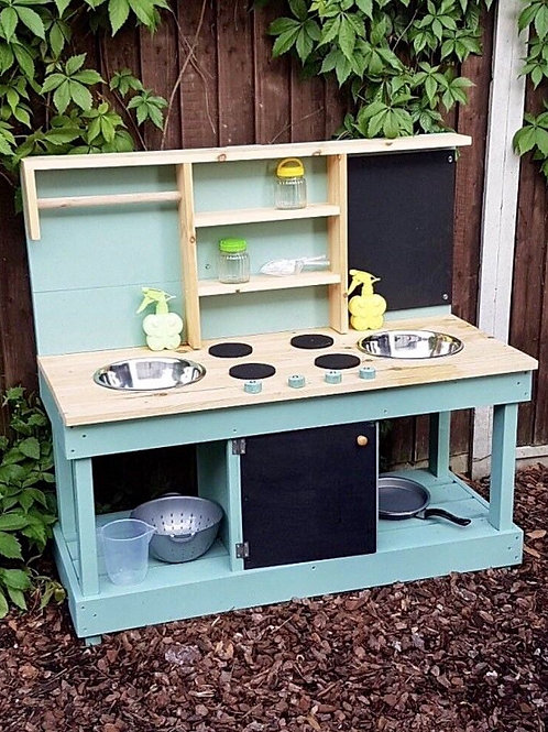 Large double bowl mud kitchen with built in play 'oven'