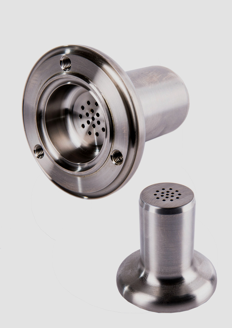 A complex machined metal part.