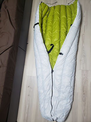 """This is a DIY backpacking quilt made by """"Hangedman Hammocks"""" in Japan. Jiro used nearly 1lb of down in this project!"""
