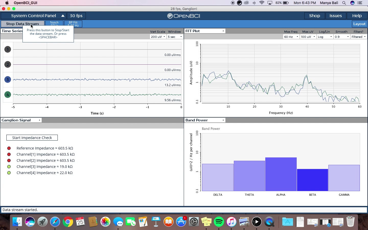 Watch one of our member's brain waves recorded using BCI!