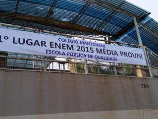 Colégio Mantovani: 1° lugar ENEM 2015 na média PROUNI