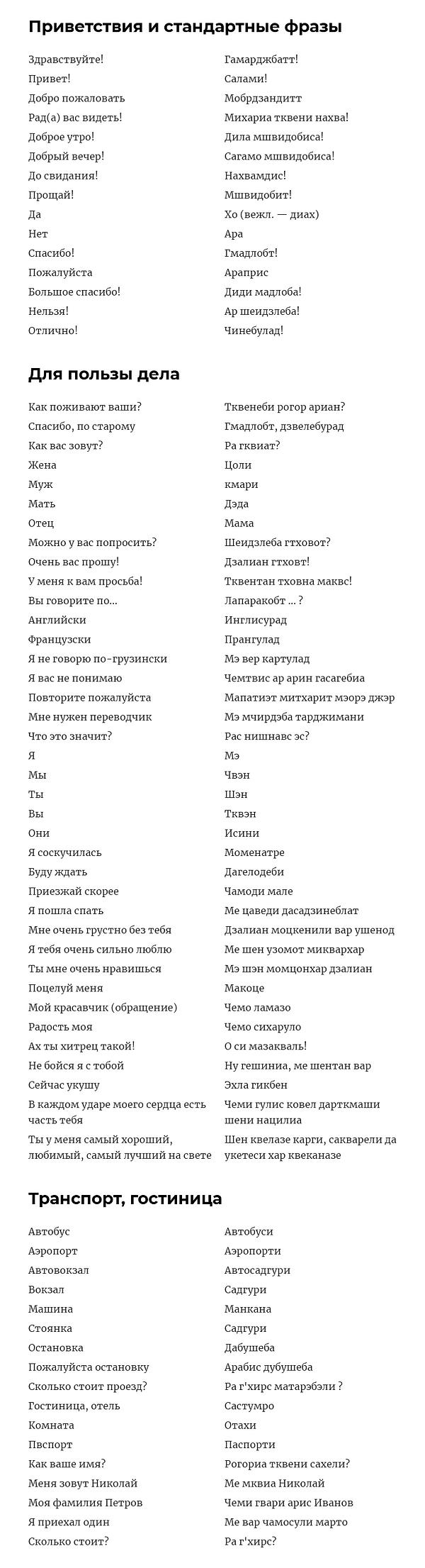 Русско-грузинский словарик | Адмирал+