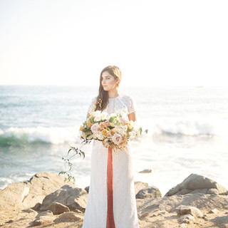 San Diego Wedding Florist Lush Garden Style Blush Bridal Bouqet on the Beach