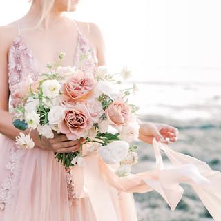 San Diego Wedding Florist Lush Garden Style Blush Bridal Bouqet on the Beach