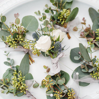 Garden Style Seeded Eucalyptus and Blue Thistle Boutonnieres