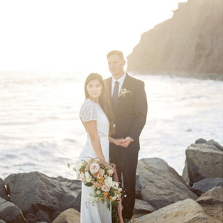 San Diego Wedding Florist Lush Garden Style Blush Bridal Bouqet on the Beach with Bride and Groom