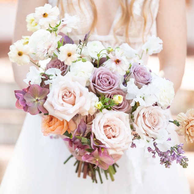 Beautiful Lavender and Blush Bridal Bouquet at Rancho Las Lomas by San Diego Wedding Florist Le Champagne Projects