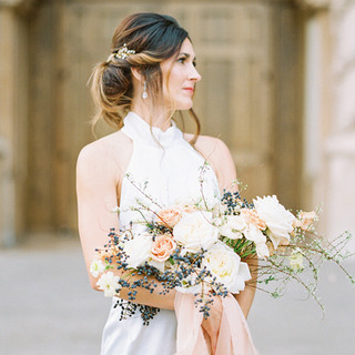 Neutral Spring time Bridal Bouquet by San Diego Wedding Florist Le Champagne Projects