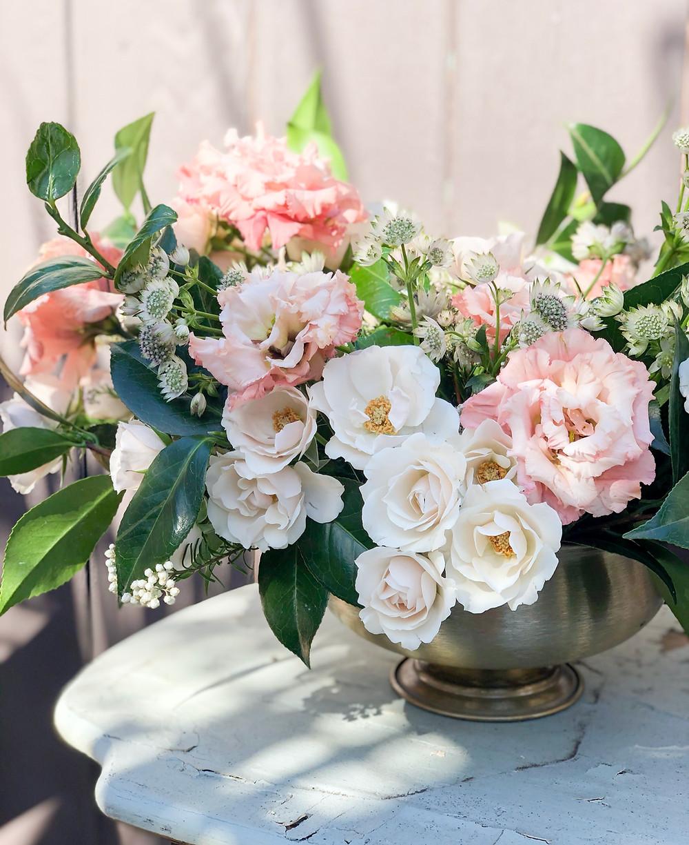 Blush wedding florals, garden style centerpiece, wedding flowers by San Diego Wedding Florist Le Champagne Projects