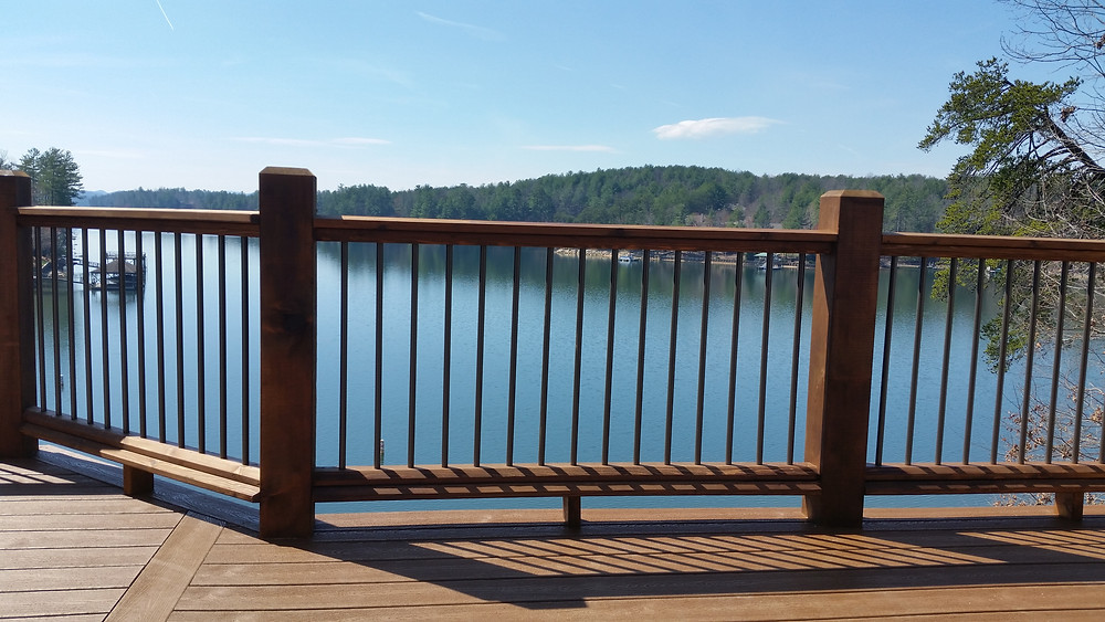 new railing over looking the lake.