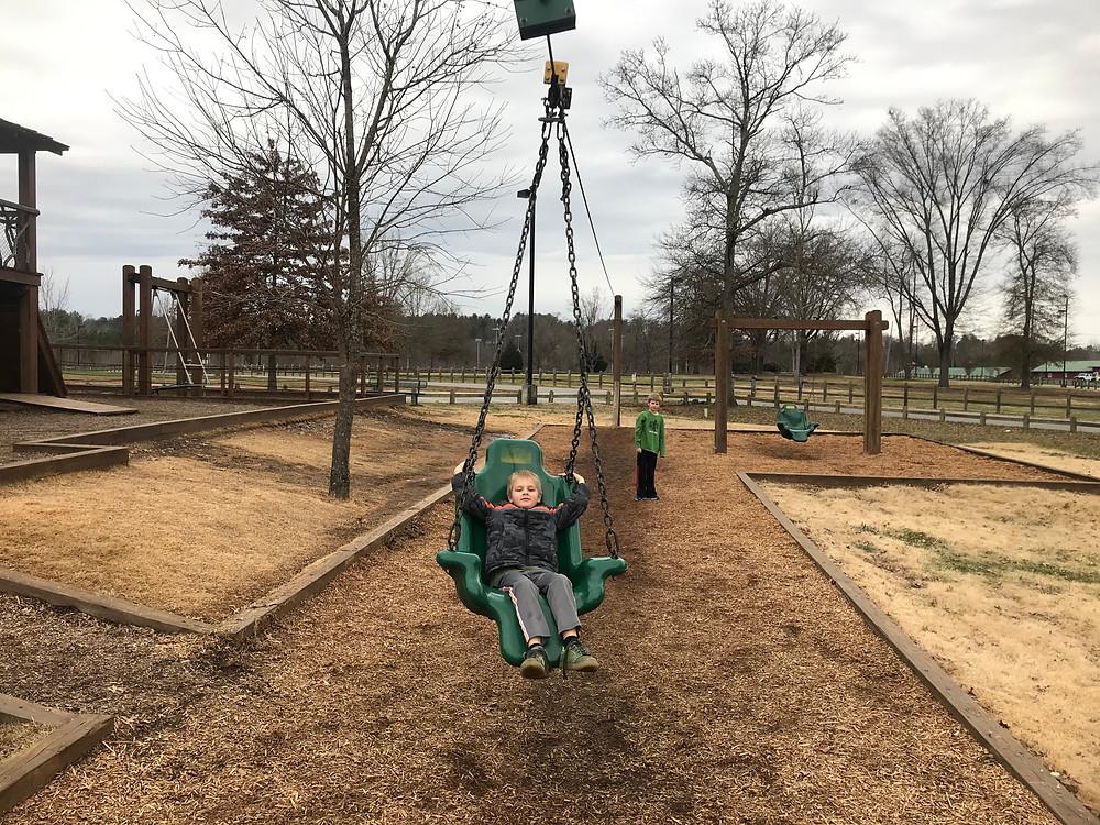 Beanstalk Zip line swing in Morganton, NC greenway.