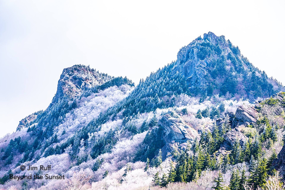 Grandfather Mountain covered in rime ice