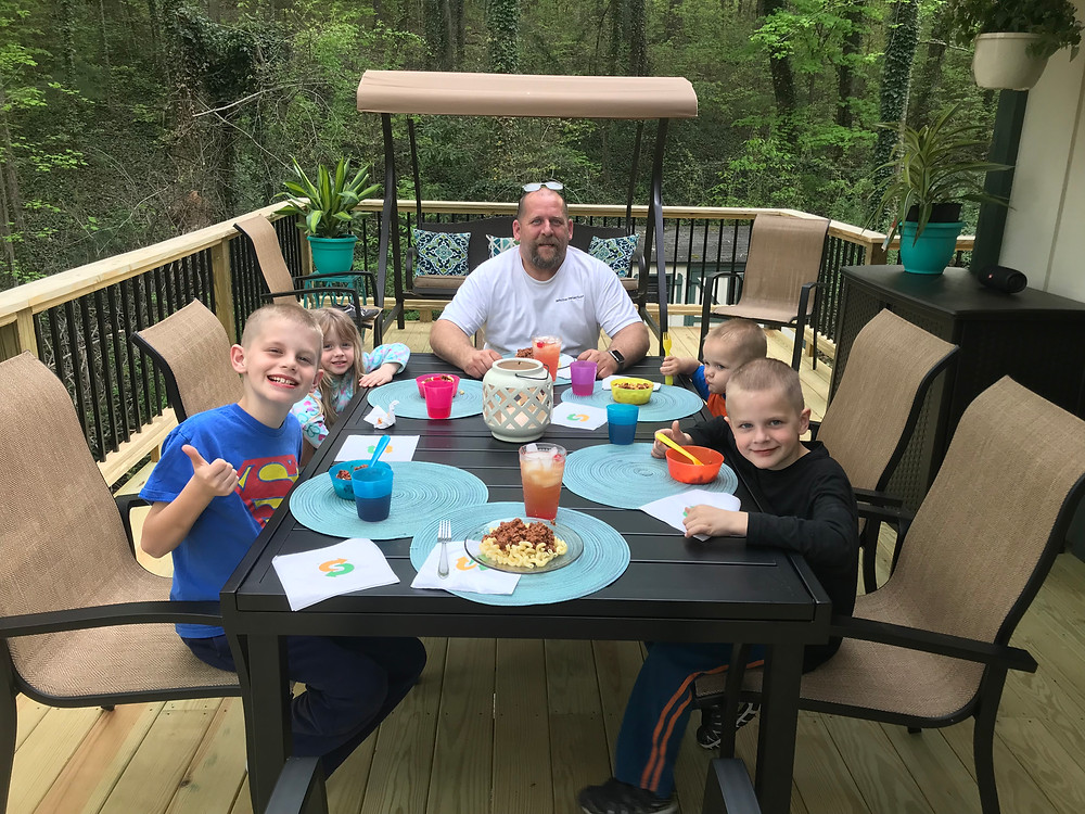 Gathered for our first meal on the new deck