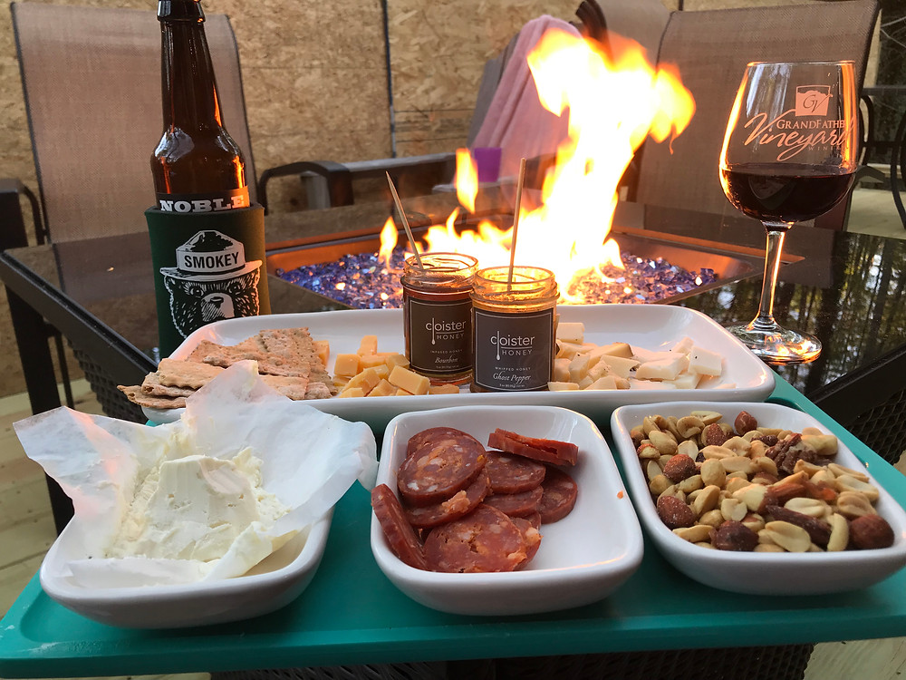 Snacks set out in from the new fire pit