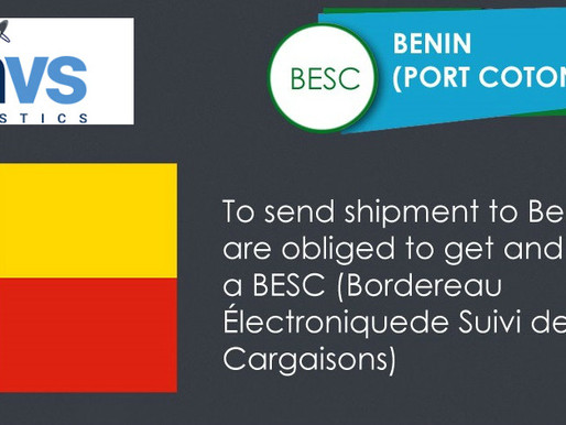 Benin - Requirement of ECTN number (Electronic Cargo Tracking Note) BESC - Bordereau Electronique