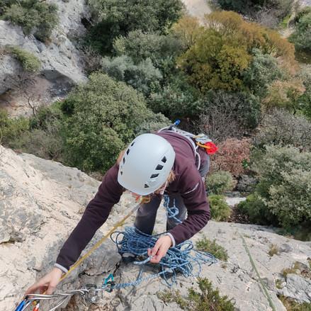 Journée initation grande voie escalade en Provence