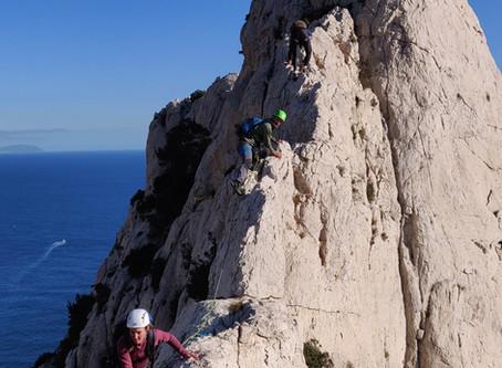 Encadrement Grande voie escalade d'initiation, Calanques, Marseille