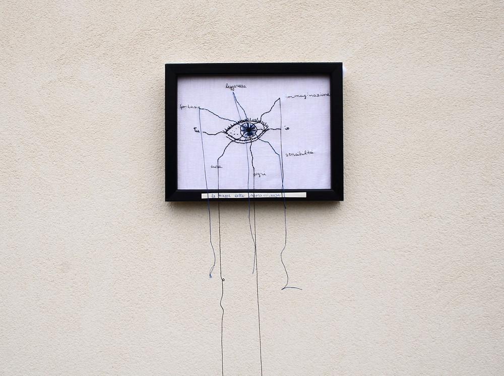 'La mappa della sopravvivenza', textile artwork su lino, 2020,  Alessandra Belgrado