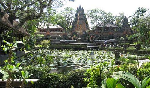 Beautiful view of Saraswati Palace, Bali, Indonesia