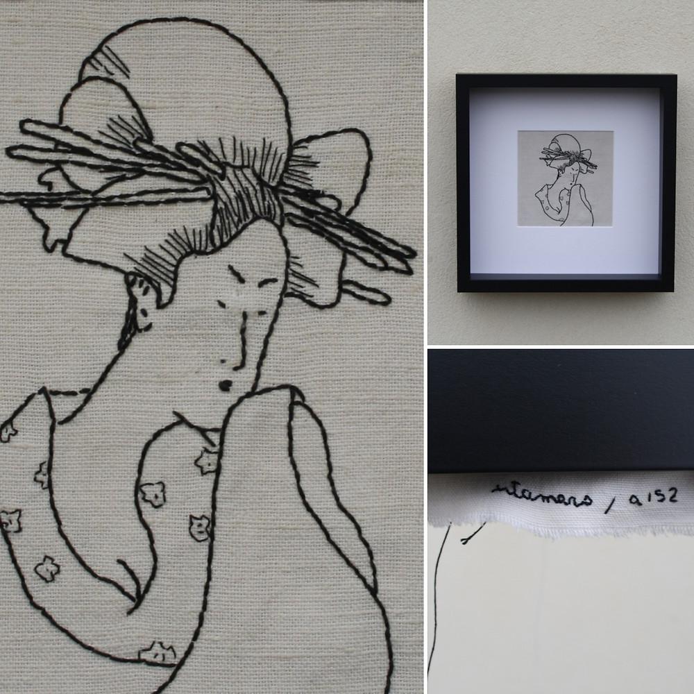 12. Il mondo fluttuante, Utamaro a152 -2021 textile artwork by Alessandra Belgrado
