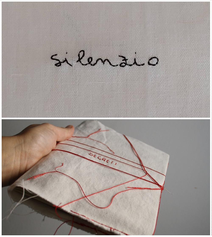 'Silenzio', 2020 / 'I segreti si sussurrano o si scrivono. Diario filosofico. La forma prodotta da un pensiero', 2020 textile artwork by Alessandra Belgrado