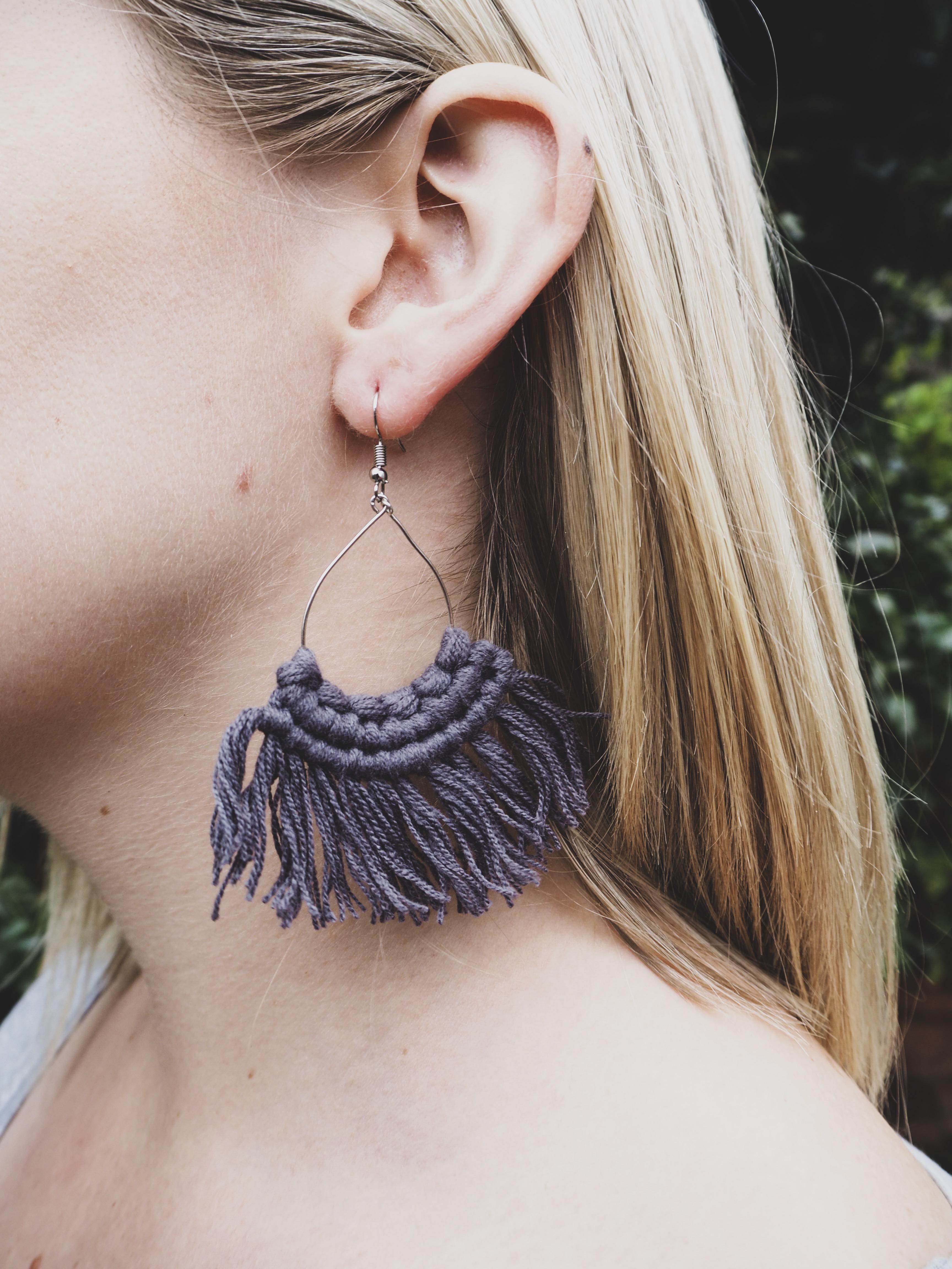 MIA Tassel Earrings in Charcoal