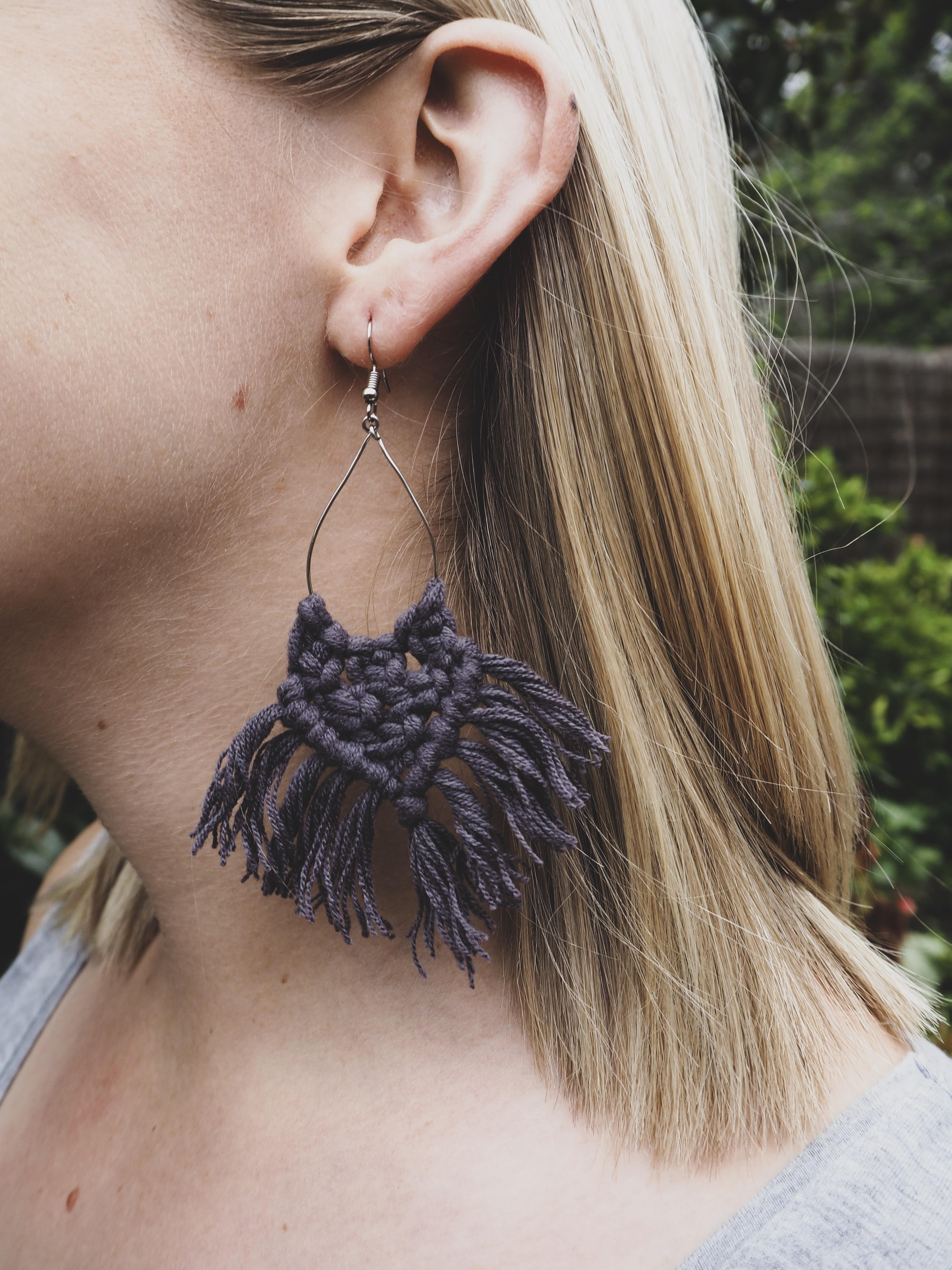 KIRA Tassel Earrings in Charcoal