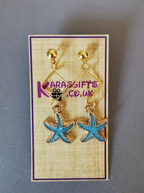 Bespoke Handmade Blue Starfish Diamond Studded Earrings
