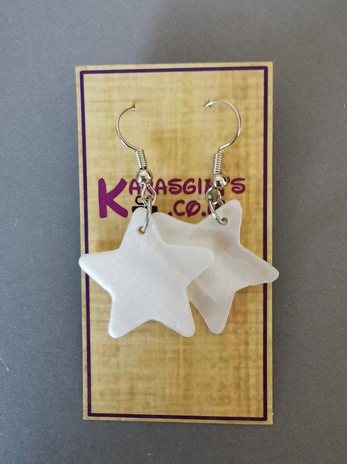 Bespoke Handmade Pearl Style Star Dangle Earrings