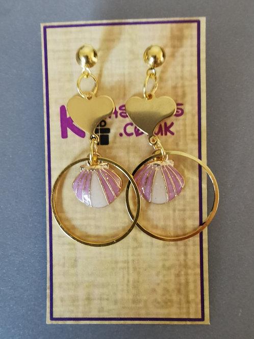 Bespoke Handmade Pink Shell Heart Studded Earrings