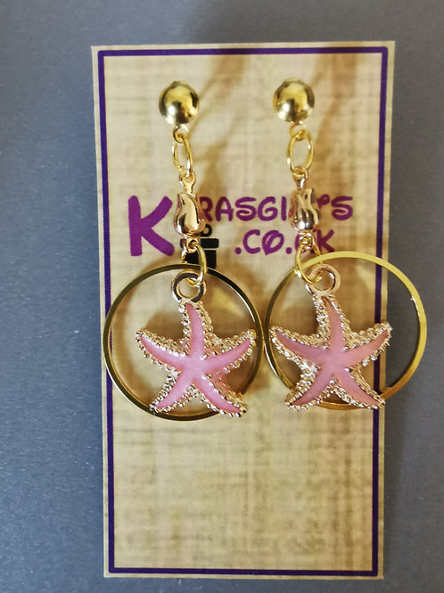 Bespoke Handmade Pink Star Fish Hoop Studded Earrings