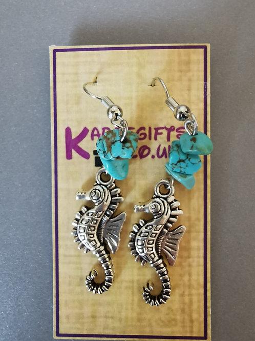 Bespoke Handmade Sea Horse Dangle Earrings