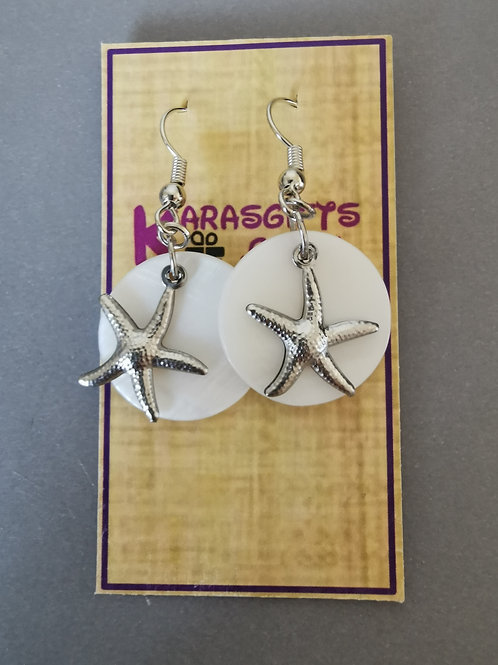 Bespoke Handmade Starfish Pearl Style Dangle Earrings