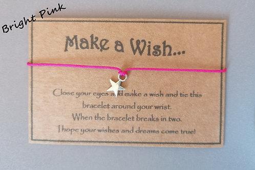 Bright Pink Make a Wish Bracelet