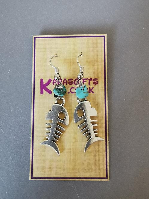Bespoke Handmade Fish Bone Dangle Earrings