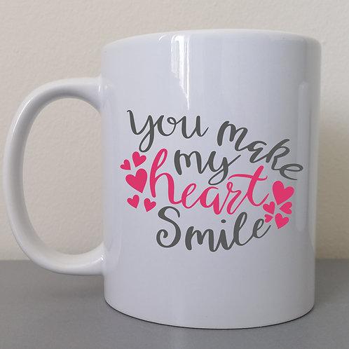 You make my heart smile mug.