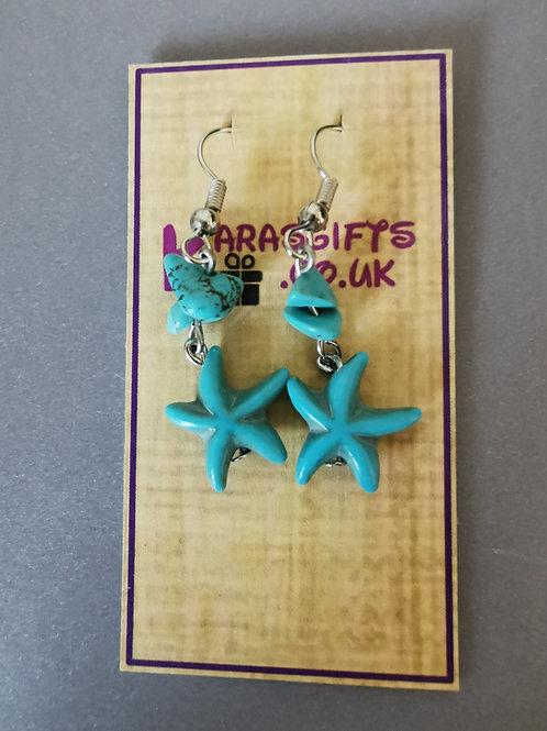 Bespoke Handmade Star Fish Gem Dangle Earrings