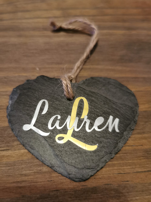 Personalized Slate Heart Name Decoration