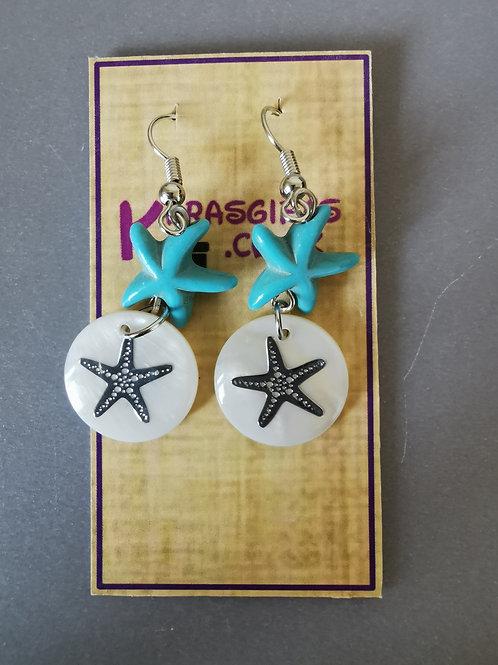Bespoke Handmade Pearl Style Star Fish Earrings