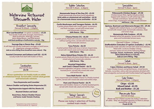 Waterview Restaurant Menu p1