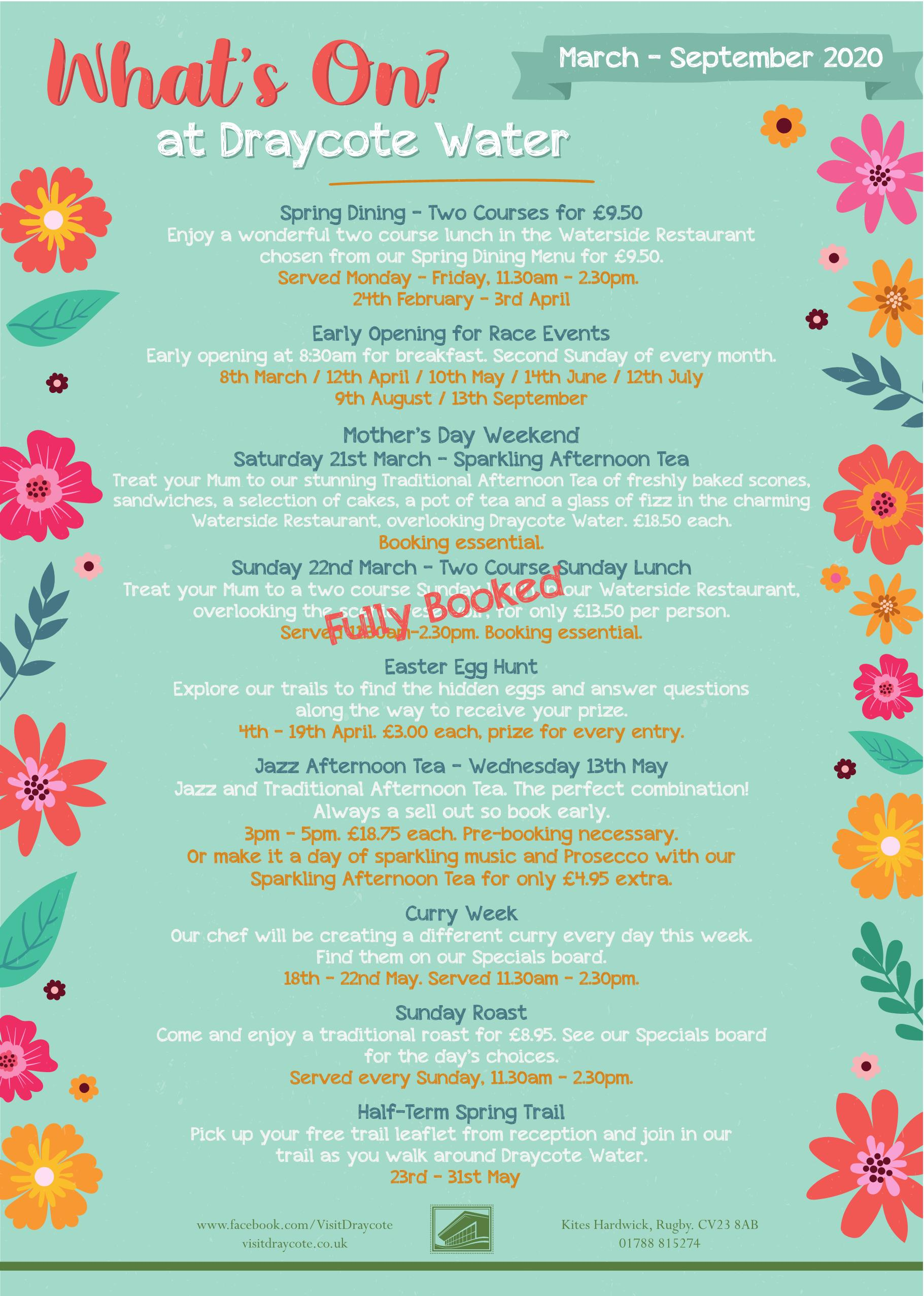 What's On at Draycote Water - 2020 (1)