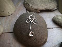 Heart Key Pendant solid Sterling Silver