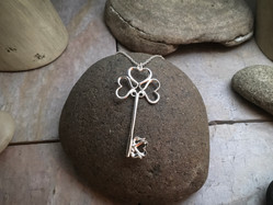 Heart Key Pendant solid Sterling Silver