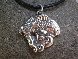 Koi Fish Pendant solid Sterling Silver