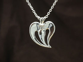 Love Angel Pendant and Necklace in solid Sterling Silver - Fine anniversary gift, gift for her, wedding gift and girlfriend gift!