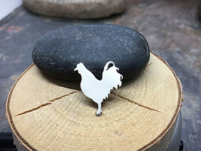 Rooster Chicken Pin in Sterling Silver - Custom Handmade - Great gift for that special chicken lady, birthday or thank you gift.