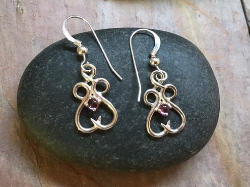 Fancy Gemstone Earrings solid Sterling Silver