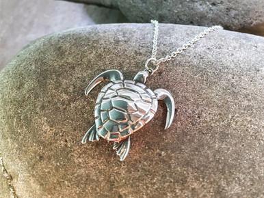 Sea Turtle Pendant solid Sterling Silver