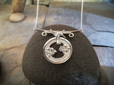 Humming Bird and Flower Garden Necklace solid Sterling Silver